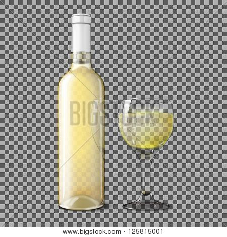 Transparent white realistic bottle for white wine with glass of wine isolated on plaid background with place for your design and branding. Vector illustration