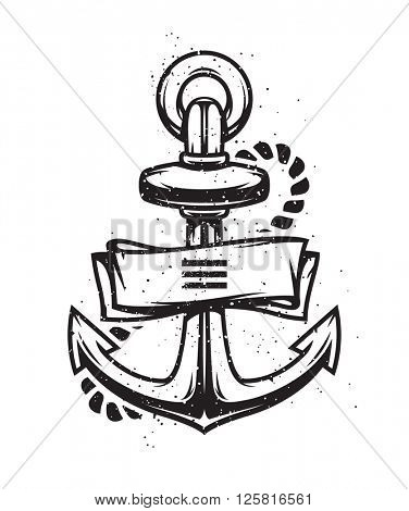 Vintage anchor with ribbon