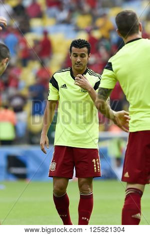 RIO DE JANEIRO BRAZIL - June 18 2014: Pedro RODRIGUEZ of Spain during the FIFA 2014 World Cup. Spain is facing Chile in the Group B at Maracana Stadium