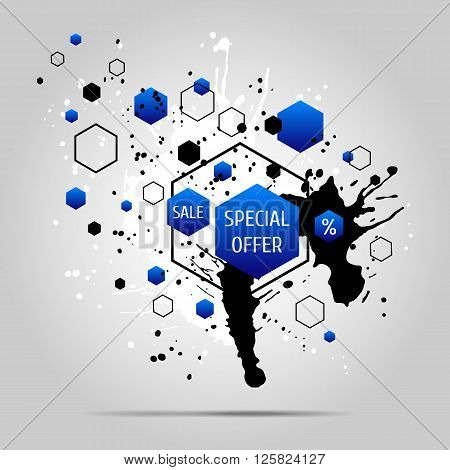 Vector grunge background with blue geometric elements. Ink blots and hexagons.