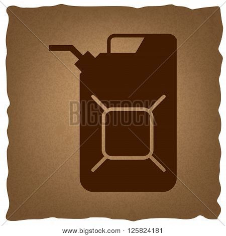 Jerrycan oil sign. Jerry can oil sign. Coffee style on old paper.
