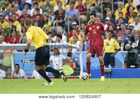 RIO DE JANEIRO BRAZIL - June 18 2014: Sergio BUSQUETS of Spain during the FIFA 2014 World Cup. Spain is facing Chile in the Group B at Maracana Stadium