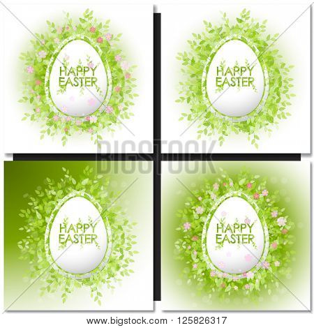 Set with easter eggs on purple and green background. Decorative frame eggs shaped and floral elements. Easter eggs with flower ornament inside shape with lettering text