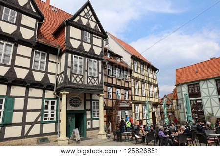 Quedlinburg, Germany - April 09, 2016: Half-timbered houses on Schlossberg in Quedlinburg in Saxony-Anhalt