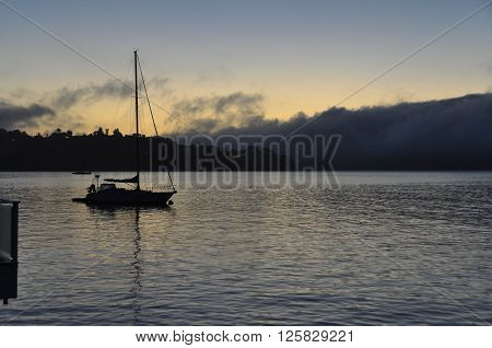 View of the dawn on the ocean in Sausalito, California