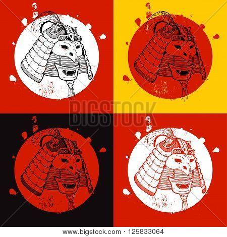 Samurai warrior set. Print for T-shirt. New concept of the samurai.