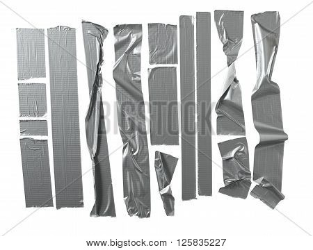 Silver duct tape with a selection of different lengths
