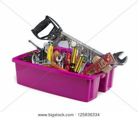 Pink caddy toolbox filled with work tools