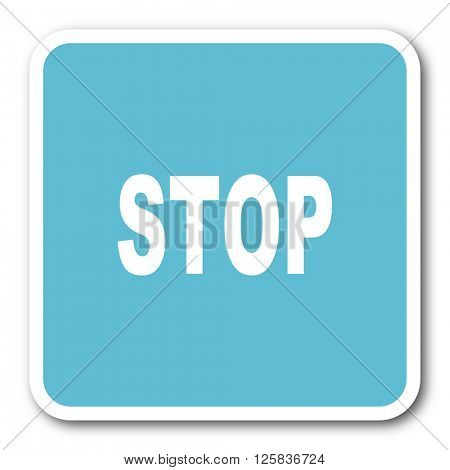 stop blue square internet flat design icon