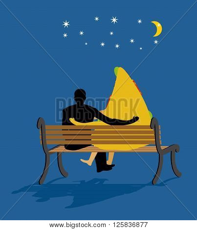 Pizza Looked At Stars. Date Night. Man And Piece Of Pizza Sit On Bench. Moon And Stars In Night Dark