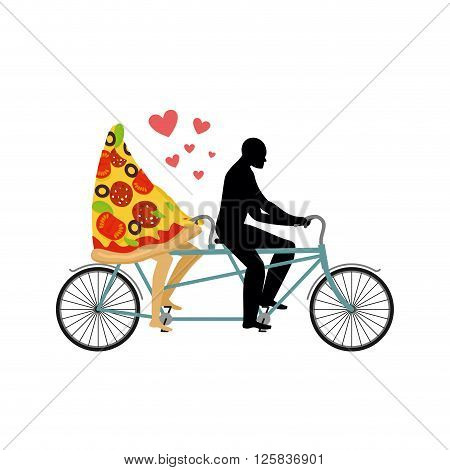 Pizza On Bicycle. Lovers Of Cycling. Man Rolls A Slice Of Pizza On Tandem. Joint Walk With A Meal. R