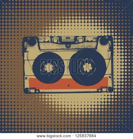 Audiocassette retro popart music seamless background. Vintage styled retro music seamless pattern poster