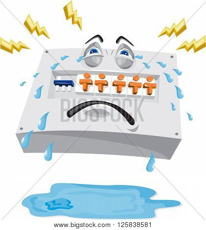 Illustration of an industrial switchboard crying with tears falling and lightning bolts with pool of water on ground viewed from front set on isolated white background done in cartoon style.