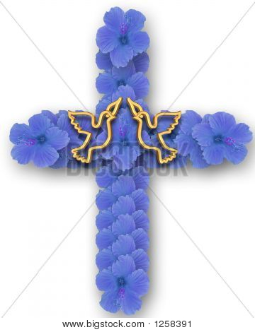 Blue Flower Cross  With Doves