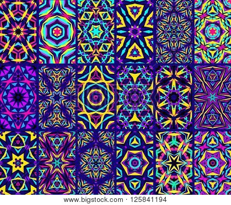 Kaleidoscopic Patterns Set. Abstract kaleidoscope flower patterns. Kaleidoscope vector backgrounds. Bright tile patterns set. Indigo colorful backgrounds. Seamless patterns. Geometric patterns vector