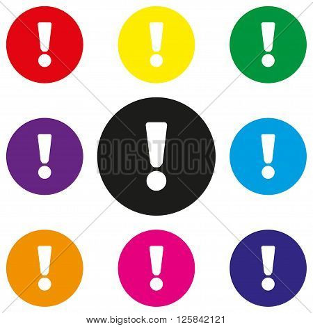 Attention  sign icon. Exclamation mark. Hazard warning symbol. Round colourful 11 buttons. Vector poster