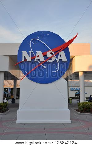 FLORIDA,USA - DEC 20: NASA sign in Kennedy Space Center Visitor Complex on Dec. 20, 2010 in Merritt Island, Florida, USA.