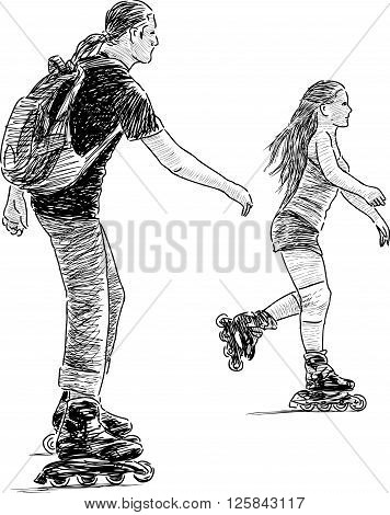 Vector sketch of a brother and sister riding on roller skates.