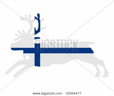 Detailed and colorful illustration of reindeer of finland poster
