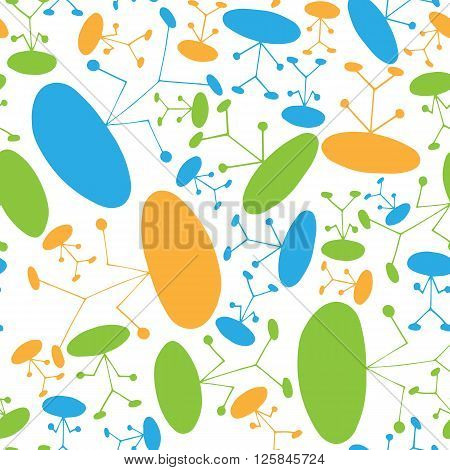 Seamless pattern of colorful manikin figure little man on white background