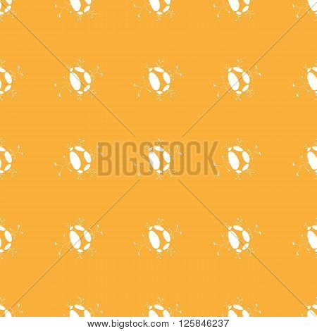 Seamless pattern of colorful manikin figure little man on orange background