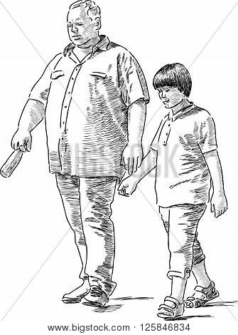 Grandfather and his grandson on a stroll together.