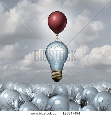 Innovative thinking concept as a group of 3D illustration light bulbs in a vast landscape as one lightbulb rises up with the help of a balloon as a motivation metaphor for creative innovation inspiration.