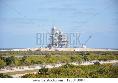 FLORIDA,USA - DEC 20: Space Shuttle Discovery on the Launch Pad prepare for her last mission (STS-133), Kennedy Space Center on Dec. 20, 2010 in Cape Canaveral, Florida, USA.