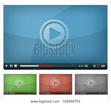 Illustration of a set of web video player with play pause and stop buttons volume settings and high resolution icons for browser and tablet pc