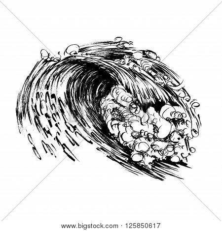 Waves brush ink sketch handdrawn serigraphy print stamp