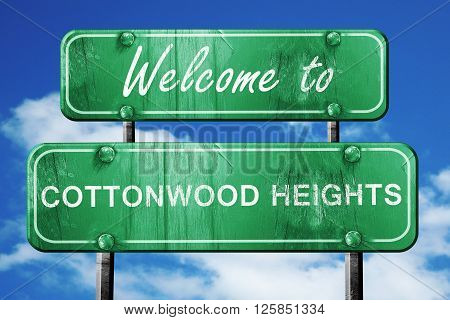 Welcome to cottonwood heights green road sign