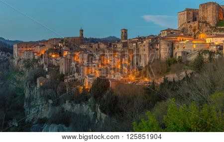 Sorano - Etruscan tuff city, Italy.It as an ancient medieval hill town hanging from a tuff stone over the Lente River.