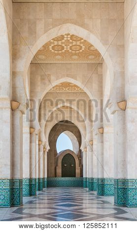 Casablanca, Morocco - March 21, 2014: The corridor in Grand Mosque of Hassan II on March 21, 2014 in Casablanca Morocco