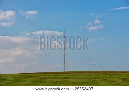 high tension wire and the blue sky