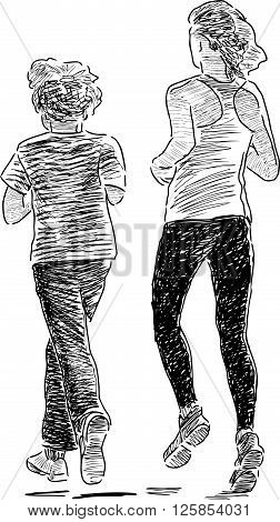 Vector drawing of children on improving jog.