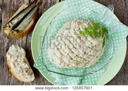 Traditional Jewish cuisine - forshmak of salted fish with butter for snack top view