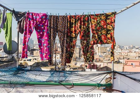 The Colourful Long Plants Bask On The Clothes Line
