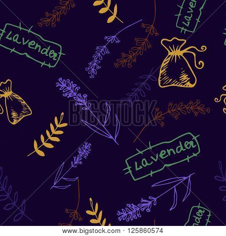 Lavender. Seamless pattern  on the blue background. Hand-drawn original background