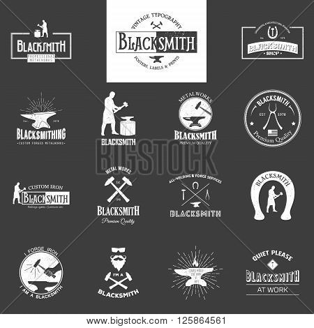 Blacksmith. Set of vintage typography posters, labels and prints.  Grunge effect can be edited or removed. Vintage typography background, vintage typography design, vintage typography art, vintage typography label, vintage typography icon, vintage typogra