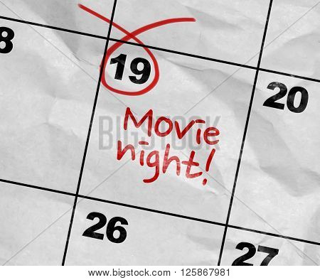 Concept image of a Calendar with the text: Movie Night