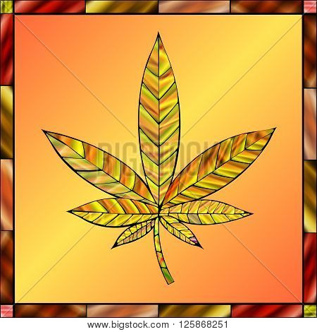 Stunning cannabis leaf in stained-glass style in a gold color scheme.