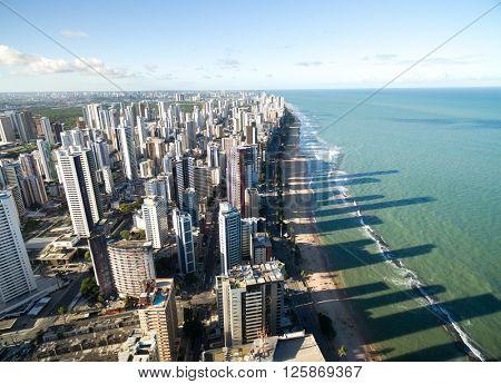 Aerial View of Boa Viagem Beach, Recife, Pernambuco, Brazil