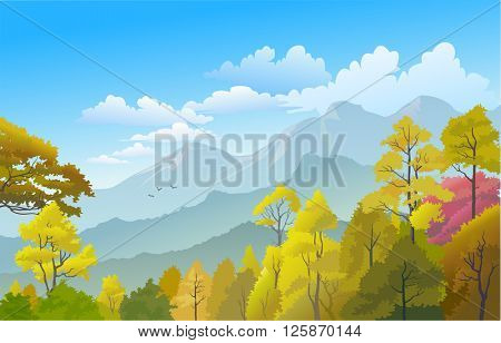 Beautiful Panorama Of Scenic Himalayan Hills and Pine Trees