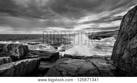 A Crashing Wave at Schoodic Point in Maine ** Note: Visible grain at 100%, best at smaller sizes