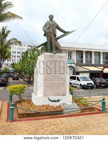 SAINT DENIS, REUNION ISLAND, FRANCE - NOVEMBER 3, 2015: Memorial of Roland Garros in his hometown. Was an early French aviator and famous fighter pilot during World War I.