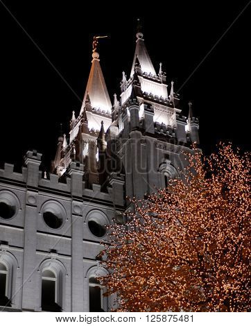 Salt Lake City Temple Square Christmas Lights on Trees and Steeples