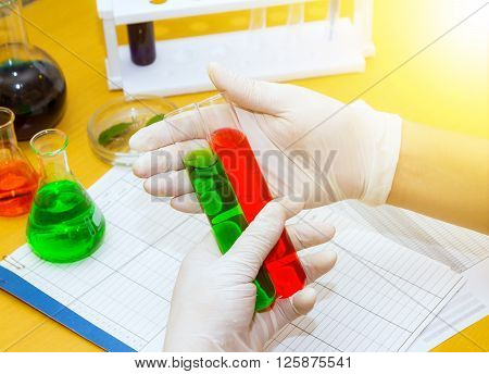 Scientist Working At The Laboratory.