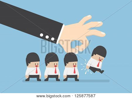 Giant Hand Flick Businessman Away