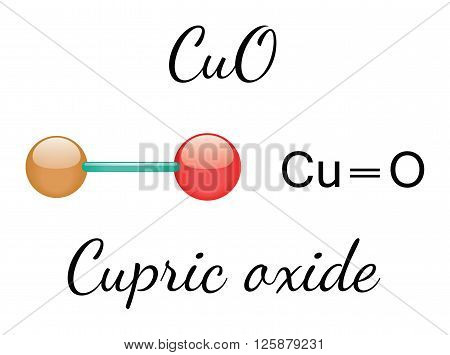 CuO cupric oxide 3d molecule isolated on white