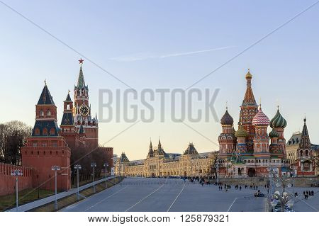 view of Vasilevsky Spusk (Saint Basil descent) Moscow Russia